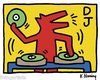 Keith Haring DANCING DJ DOG 16x20 Giclee Pop Art Print **SALE