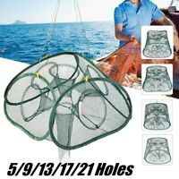 5-21 Holes Foldable Fishing Bait Net Trap Cast Fish Shrimp Cage Crab   UK UK!