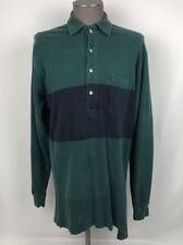 Polo Ralph Lauren Rugby Polo Shirt Mens SZ L Green Stripe 100% Cotton C24