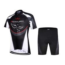 Kids Bike Wear Kit Boys Full Zip Cycling Shirt Jersey and Padded Shorts Set