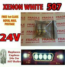 8 x White LED 24v Capless Side Light 501 W5W 5 SMD T10 Wedge Bulbs HGV Truck