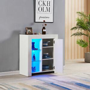 High Gloss Front Sideboard Cupboard Cabinet Display Shelf Unit LED Light Door