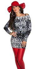 NEUF PULL LONG VESTE SWEAT leo-face chauve-souris imprimé léopard ! 134