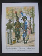 Reproduction d'aquarelle : Garde impériale, chasseurs à cheval 1804 - 1815