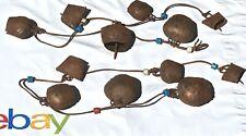 Lot  2 Sets Vintage Primitive Goat Sheep Bells Rustic 6 Bells Ea. String Greece