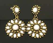 Vintage Bronze Pearl Flower Daisy Elegant Jewellery Dangle Earrings