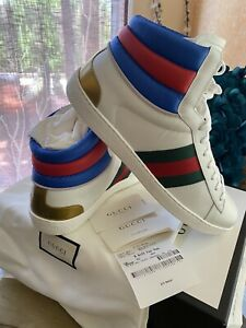 Gucci Stripe Ace High-Top Sneakers Snakeskin Size 548689 10 G/ 11 US Flashtrek