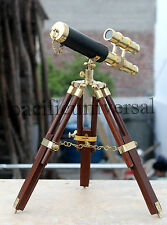 Royal Navy Brass Telecope With Wooden Tripod Vintage Double Barrel Marine Scope.