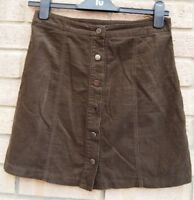 NEW LOOK TAUPE BROWN CORDUROY BUTTONED A LINE WINTER KHAKI MINI SEXY SKIRT 6 XS