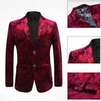 Italy Mens Formal Wedding Printed Floral Dress Suit Slim Blazer Two Buttons Coat