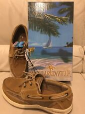 MARGARITAVILLE 13 MEN'S ANCHOR LACE UP LIGHT TAN LEATHER MESH COMFORT BOAT SHOES