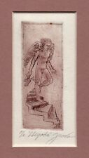 Male Nude Angel Etching – Mexican Artist Juan Navarro, Signed