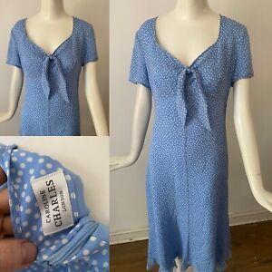 Vgc Caroline Charles Luxury Sky Blue 1940s Style Silk Polka Dot Tea Dress 12 40