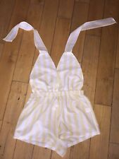 8bb0712e72cc In The Style White and Yellow Striped Backless Halter Neck Playsuit Size 16