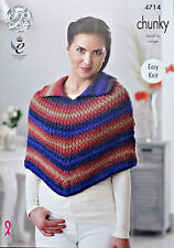 KNITTING PATTERN Ladies Easy Knit Cape with Collar Chunky KingCole 4714