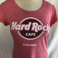 Hard Rock Cafe Logo Chicago Pink Women's T-Shirt Size Medium EUC