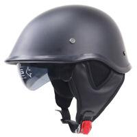 DOT Motorcycle Half Helmet Skull Cap Integrated Sun Visor Scooter Chopper Bike