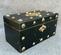 Large antique french Napoleon III tea box 19th century wood brass ornaments 2lb