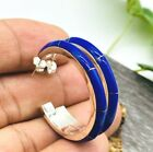 925 Taxco Mexican Sterling Silver Hoops Blue Lapis Earrings Handmade Mexico