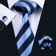 USA Classic Neay Blue Black Men's Tie Strpe Silk Necktie Pocket Sqaure Set Woven