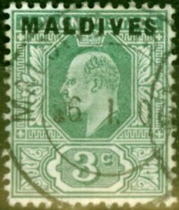 Maldives 1906 3c Green SG2 Fine Used
