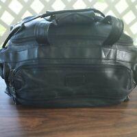 "Vintage Tumi Black Genuine Leather Gym Duffle Carry-On Bag Suitcase 20""x12""x9"""