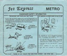 Safety Card - Jet Express - Metro (S2141)