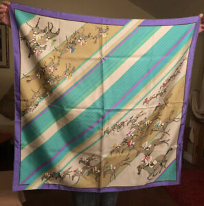 HERMES PARIS HORSE Racing Multi Color LARGE Silk Scarf 35 INCHES MADE IN FRANCE