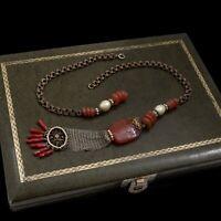 Antique Vintage Nouveau Sterling Silver Carnelian Pearl REPAIR Necklace 37.2g