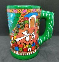Mexican Folk Art Hand Painted Terracotta Story Mug Stein, Wedding Scene