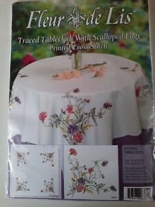 Anchor Traced Tablecloth With Scalloped Edge Printed Cross Stitch...Sweetpea..Fl