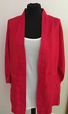 NEW ZARA WOMAN PINK / RED  LINEN JACKET BLAZER MEDIUM UK 8 10 12 Z337
