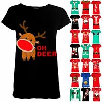 Womens Christmas Xmas Oh Deer Printed Ladies Cap Sleeve Stretchy T Shirt Tee Top