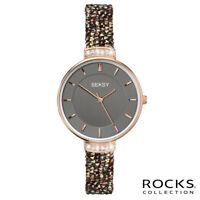 Sekonda Seksy Rocks Ladies Rose Gold Plated Stone Set Bracelet Watch SK2579