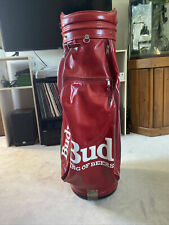 Red leather Vintage Budweiser Golf Bag King Of Beers Collectible