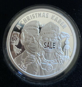 A Christmas Karen 2020 Silver Shield MicroMintage 1 oz .999 Proof Members Round