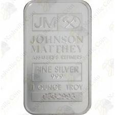 Johnson Matthey (JM) 1 oz .999 Fine Silver Bar - SKU #62001