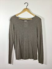 T ALEXANDER WANG Brown Scoop Neck Long Sleeve Sweater Size Large