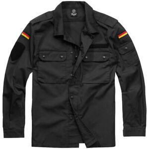 Brandit BW Field Tunic Mens Military Streetwear Overshirt Workwear Jacket Black