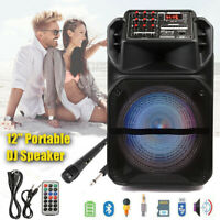 "12"" Portable Bluetooth Party Speaker w/ Woofer & Tweeter FM USB SD Card AUX Mic"