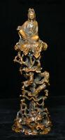 """9"""" Old China Boxwood Carving Free Kwan-yin Guan Yin Goddess Boddhisattva Statue"""