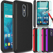 For Lg Stylo 4/4 Plus Case Defender Slim Hybrid Cover/Glass Screen Protector