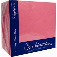 100 Candy Pink 2Ply Napkins / Serviettes 33cm x 33cm Party/Wedding