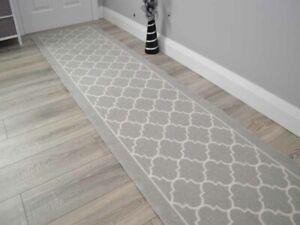 Silver New Trellis Hall Hallway Corridor Wide Narrow Floor Carpets Rugs Cheap