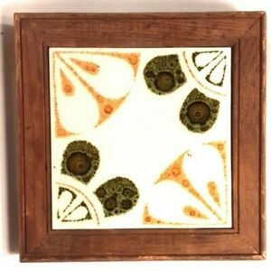 Hand Crafted Trivet Made in Spain Square Porcelain Hot Plate Green Gold Design