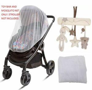 Mosquito Net & Toy Bar Shape Music for Maclaren Baby Stroller Swings Car Seat