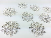 MT2 - 35mm Stick On Metal Diamante SNOWFLAKE Wedding Crystal Topper Brooch