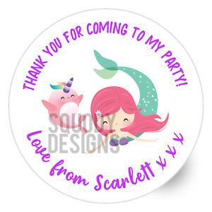 Mermaid Birthday Party Printed Round Stickers - Custom Labels - Personalised
