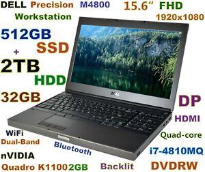Workstation DELL M4800 i7-Quad (512GB SSD + 2TB) DVDRW 32GB 15.6 FHD Quadro 2GB