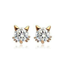 GORGEOUS 18K ROSE GOLD PLATED AND CLEAR CUBIC ZIRCONIA SOLITAIRE CAT EARRINGS